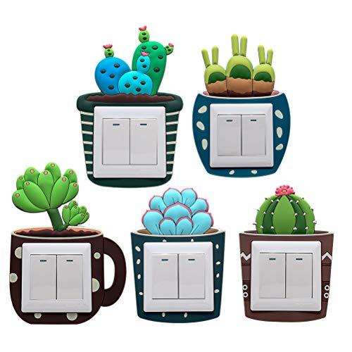 Vosarea 5pcs Vinilos para Interruptores de la Luz en Forma de Cactus...