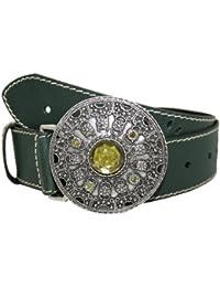 Zest verde oscuro cinturón de 38mm trenzado con gran hebilla Gem