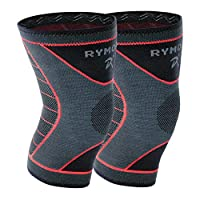 Rymora Knee Support Brace Compression Sleeves - for Joint Pain, Arthritis, Ligament Injury, Meniscus Tear, ACL, MCL, Tendonitis, Running, Squats, Sports (Double Pack)