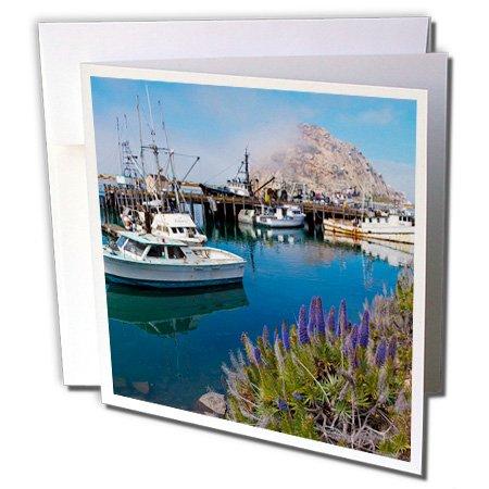 3dRose gc_189384_1 Grußkarten, Motiv: USA California Docked Boats at Morro Bay mit Morro Rock, 6 Stück -