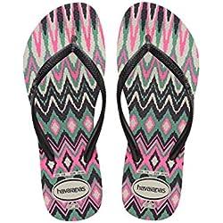 Havaianas 4115842 - Chanclas Mujer, Multicolor (White/Black/Pink 1540), 35/36