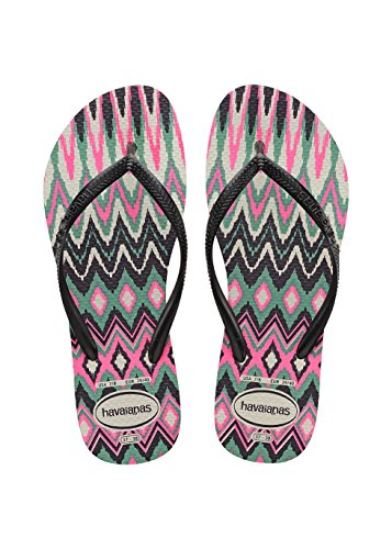 Havaianas Slim Tribal, Tongs Femme, Multicolore (White/Black/Pink 1540), 37/38 EU