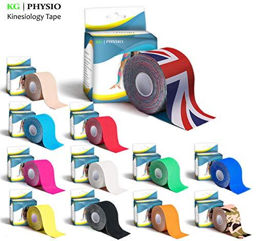 Nastro Kinesiologico – KG | PHYSIO – Aiuto terapeutico al supporto muscolare originale – rotolo di 5 cm x 5 m – disponibile in 11 colori!