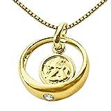 CLEVER SCHMUCK Set Goldener Taufring Ø 12 mm Engel rund mit Zirkonia weiß glänzend 333 Gold 8 Karat mit vergoldeter Kette Venezia 36 cm
