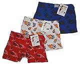 Eleuek 3'er Set Jungen Unterhosen mit Fussball Motiv (122/128, blau/weiß/rot)