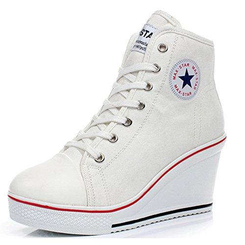 Mujer Cuñas Zapatos De Lona High-Top Zapatos Casuales Encaje Hebilla Cremallera Lateral Tacón Cuña...