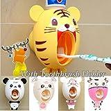 Bebé dispensadores de cepillo de dientes, los niños Manos libres dispensador de dientes BigNoseDeer niños dibujos animados automático linda animal dentífricos exprimidor buen regalo (Tigre)