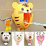 Bébé Distributeurs de brosse à dents, les enfants Distributeur de dentifrice mains libres BigNoseDeer enfants Cartoon automatique mignon Animal Dentifrice Squeezer Bon Cadeau (tigre)