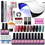 Saint-Acior 36W UV +LED Nagellampe Starterset 10x Gel Lacken für UV Nageldesign Gelnägel Nagelset uv Gel Lacken Set