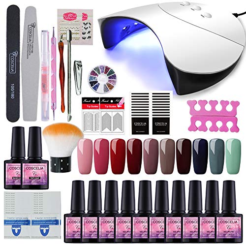 Saint-Acior 36W UV LED Nagellampe Starterset 10x Gel Lacken für UV Nageldesign Gelnägel Nagelset uv Gel Lacken Set - Set Gel Uv