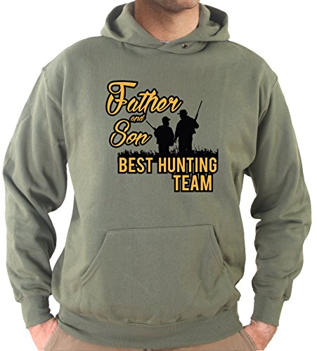 Settantallora - Felpa Con Cappuccio KJ2428 Father and Son Best Hunting Team Verde