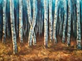 Feelingathome.it-LEINWANDDRUCK-Moonlit-Birkenast-cm73x96-poster-bild-auf-leinwand
