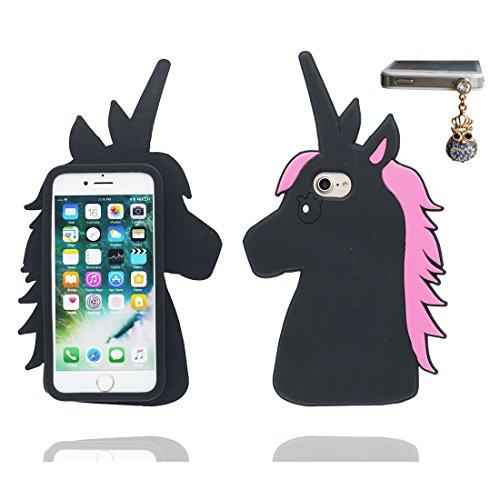 """iPhone 7 Plus Coque, Étui Cover Housse pour iPhone 7 Plus 5.5 """" Cartoon 3D lapin Stripe en Gel TPU Shell iPhone 7 Plus Case (5.5"""") Résistant à la poussière Scratch et Bouchon anti-poussière Noir 1"""