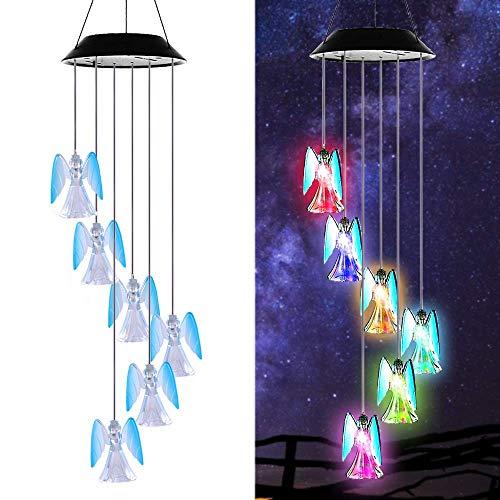 HHY-D Solar LED Engel Mobile Windspiel Farbwechsel Solarleuchten Solarbetriebene Mobile Windspiele Licht für Gartendeko