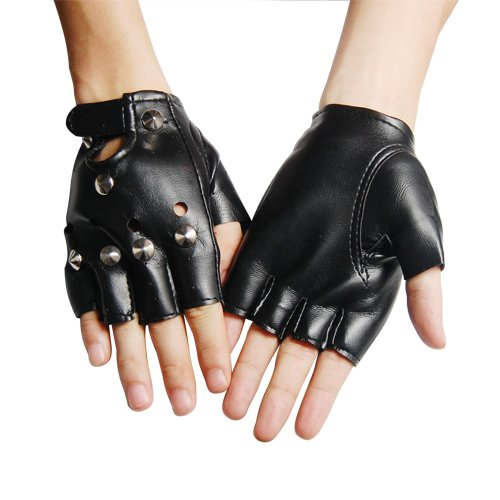 80178a8fd7785 ... Girls Black Leather Fingerless Gloves: How To Create A Terminator Arnie  Costume