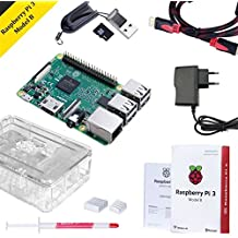Raspberry Pi 3 Modelo B Starter Kit Desktop Quad-Core 1.2 GHz 1GB RAM con Accesorios como Regalo (32GB Micro SD, Cable HDMI, Caja Transparente y Cargador)