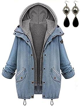 M-Queen Largo Abrigos de Mujer Chaquetas de Denim Chalecos Hoodies Chaqueta de Mezclilla para Otoño Invierno Jacket...