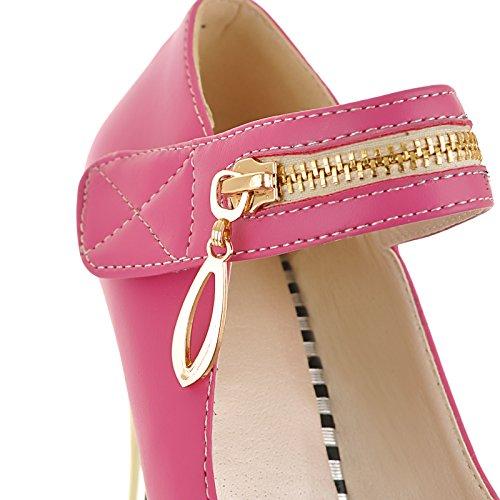 YE Damen Mary Jane High Heels Stiletto Pumps mit Roter Sohle und Reißverschluss Party Schuhe Rose