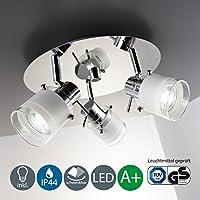Lámpara LED de techo para baño I Plafón con tres focos LED I Protección contra el agua I Foco LED con 3 bombillas LED GU10 I Color de la luz blanco cálido I Cromado I 230 V I IP44 I 3 x 5 W I Ø 250 mm