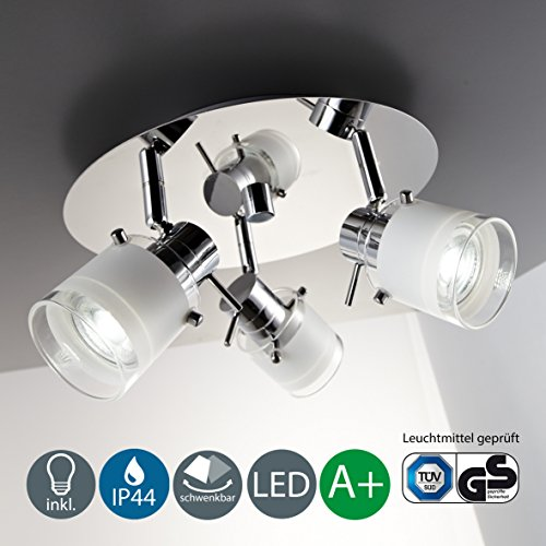 Modern Round LED Ceiling Light with 3 x 5 Watt 3 x 400 Lumen 3000 Kelvin, Warm White [Energy Class A+] IP 44 rated and suitable for bathroom Test