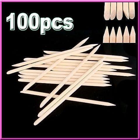 Andonger 100Pcs Nail Art Arancione Stick legno Spingipelle di rimozione