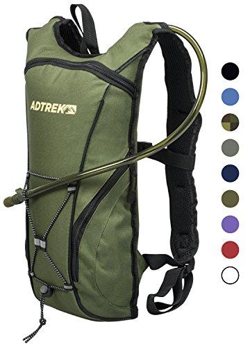 Adtrek - Trinkrucksack mit Wasserblase - Ideal zum Laufen/Radfahren - 2 Liter Olivgrün