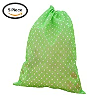 Moolecole 5 Piece Nonwovens Dust Bag Portable Travel Drawstring Shoe Bag Cute Pattern Shoes Storage Green Dot