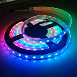 IKSACE LED Beleuchtung Strip 5V 5 m 16,5 FT SMD 5050 RGB 60LED/Meter 300 Pixel WS2812B IC Dream Color Light (Pack ohne Fernbedienung Controller) schwarz Black PCB IP67 60LEDS/M