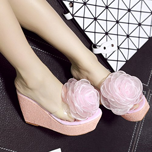 Oasap Women's Wedge Heels Slip-on Transparent Flower Sandals pink