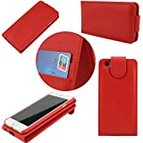 G4GADGET® Apple iPhone 5/5S Red Flip Wallet PU Leather Case Cover with Two Card slots For Apple iPhone 5/5S