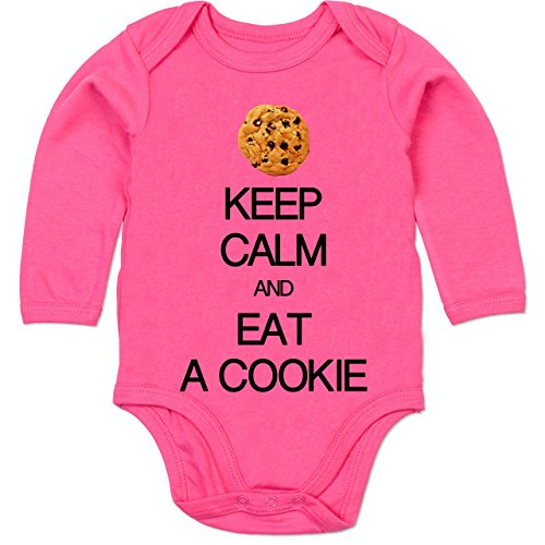 Up to Date Baby - Keep Calm and eat a Cookie - 12-18 Monate - Fuchsia - BZ30 - Baby Body Langarm