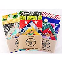 "XXL Set Of 6""Eco Habit"" Beeswax Food Wraps, Large selection of sizes, Biodegradable, Reusable, Handmade"