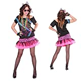 NET TOYS Disfraz años 80 Mujer Traje Disco L 42/44 Outfit Estrella de Rock Celebridad Atuendo Carnaval Estrella de Pop Atuendo Carnaval Girlie Fiesta temática ochentera