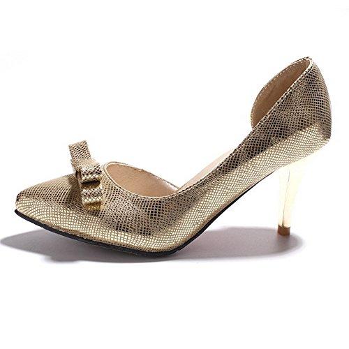 AllhqFashion Damen Rein Weiches Material Hoher Absatz Ziehen Auf Spitz Zehe Pumps Schuhe Golden