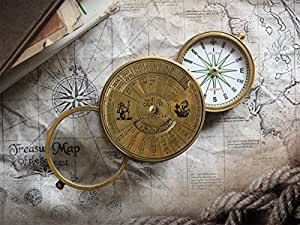 """New Year Gift 3"""" Pocket Compass with 40-year old Calander and Optical Glass For Office / Desk Accessories / Camping Accessories / Collectibles / s for him / her"""