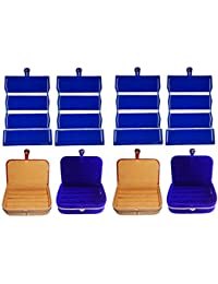 Afrose Combo 4 Pc Blue Earring Folder 2 Pc Ring Box And 2 Pc Blue Ear Ring Box Jewelry Vanity Box
