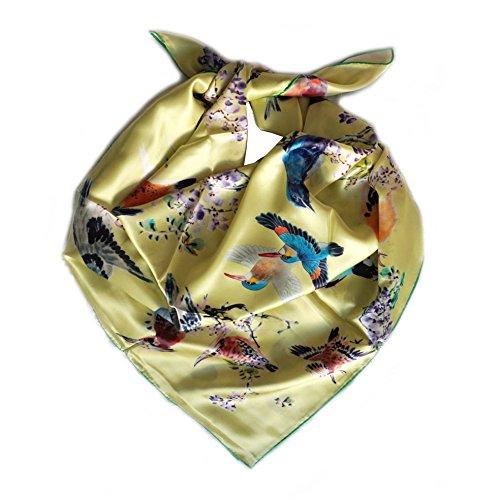 Kopftuch QUADRATISCH Satin 100% Seide. 100cmx100cm. Motiv Vogel, Farbe gelb grün etc. Couture in der Hand. (Ein Vogel In Der Hand)