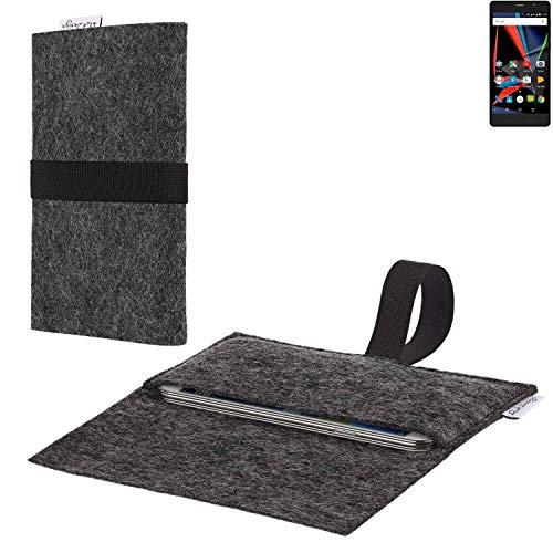flat.design vegane Handy Hülle Aveiro für Archos 55 Diamond Selfie Lite passgenaue Filz Tasche Case Sleeve Made in Germany