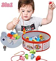 LBLA 3 In 1 Fishing Games for toddlers,Wooden Magnetic toys for 3 4 5 years old Girls Boys / Educational toys