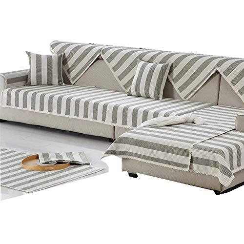Zzy Verdicken sie Sofa möbel Protector Baumwolle und Linie Sofa abdecken Anti-rutsch sectional Sofa werfen Decken pad für l u förmiges Sofa für alle Saison-1 stück-A 28x94inch(70x240cm)