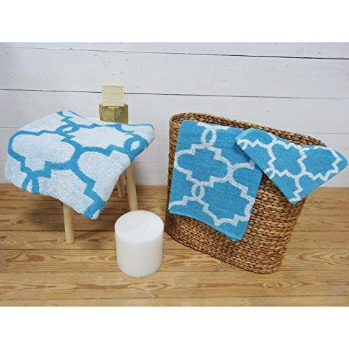 Today Parure de Bain Mosaik 100% Baumwolle–1Handschuh + 1Handtuch + 1Duschtuch, Baltik