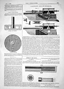 CONSTRUCTION DE L'ARME À FEU D'ARTILLERIE DE PISTON DE PLAN DE JOHNSON DE 1862 DE SYMONS MACHINES À VAPEUR