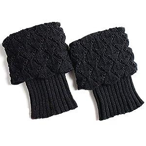 SINOTECHQIN 1 Paar Frauen Boot Knit Manschetten, Kurze Crochet Beinlinge, Winter Warme Manschettensocken
