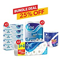 FINE Bundle Offer: Facial tissue 150ply pack of 5 X 2, Super Towel Pro X 3, Extra Soft Toilet Paper X 2, Mega Roll hand towel