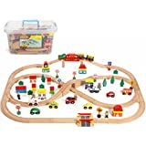 100 Piece All In One Wooden Train Set With Accessories