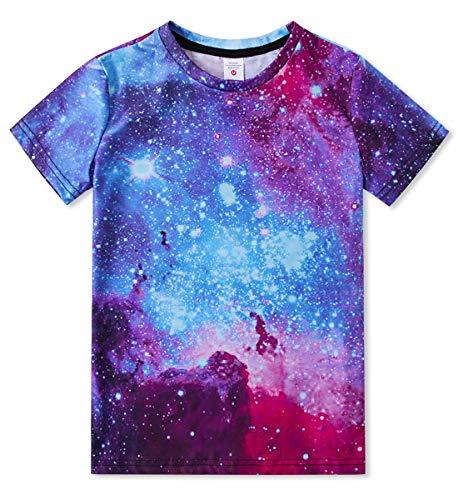 Idgreatim Galaxy T-Shirts Mode 3D gedruckt Kurzarmshirts Schulkind Jungen Mädchen Pullover Tees (Anzug Jungen 4t)