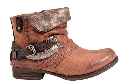 Elara Damen Biker Boots | Metallic Prints Schnallen | Nieten Stiefeletten Lederoptik | Gefüttert Camel 40