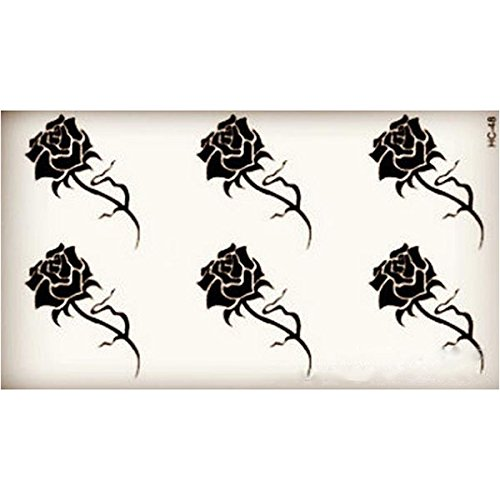 leorx-5-sheets-body-art-stickers-removable-temporary-tattoo-rose-flower-pattern-black