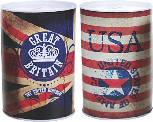 2er Set Spardose Vintage USA & UK Flagge Metall England Great Britain -