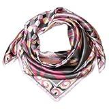 LORENZO CANA Luxus Damen Seidentuch aufwändig bedruckt Tuch 100% Seide 90 cm x 90 cm Damentuch Schaltuch rosa weiss schwarz 89033